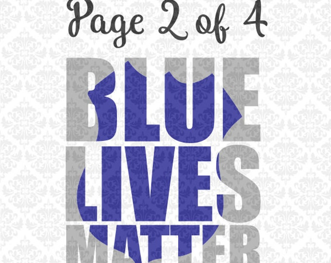 BlueLivesMatter Blue Lives Matter Officer Police Peacemakers Knockout SVG DXF AiEps PNG Vector Instant Download Commercial Cricut Silhouette