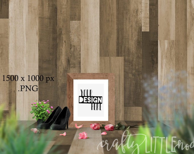DIGITAL MOCKUP 8x10 Frame Empty Blank Girly Wood Printable Art SVG Artist Mock Up Styled Stock Photo Picture Photography Your Design Here