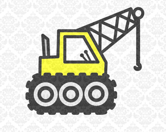Tractor Crane Kids Farmer Newborn  Construction SVG file Ai EPS Scalable Vector Instant Download Commercial Use Cricut Silhouette