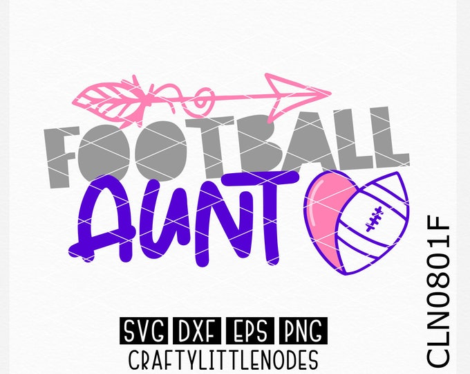 CLN0801F Football Aunt Auntie Sports Team Heart Ball SVG DXF Ai EPs PNG Vector Instant Download Commercial Cut File Cricut Silhouette