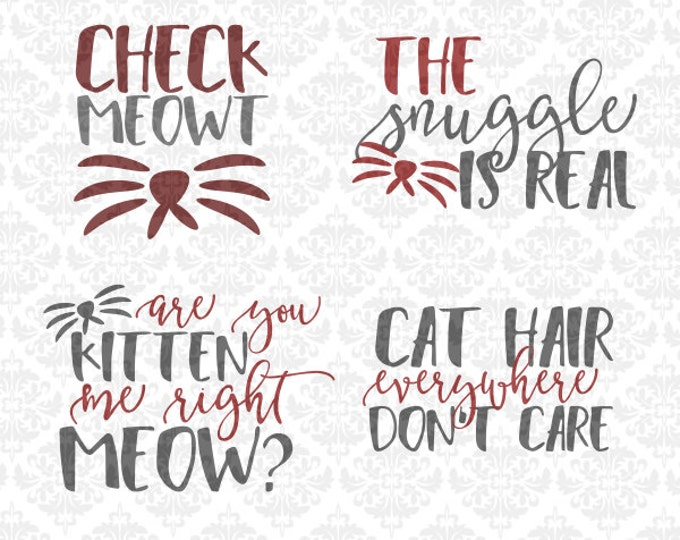 Cat Kitten Meow Set Check Snuggle Hair STUDIO Ai EPS Scalable Vector Instant Download Commercial Use Cutting File Cricut SIlhouette