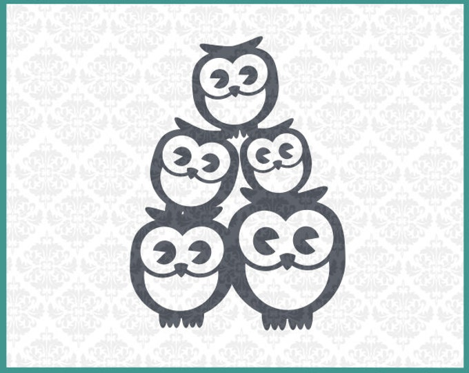 CLN0131 Owl Family 3 Three Kids Mommy Daddy Babies Mother Father SVG DXF Ai Eps PNG Vector Instant Download Commercial Use Cricut Silhouette