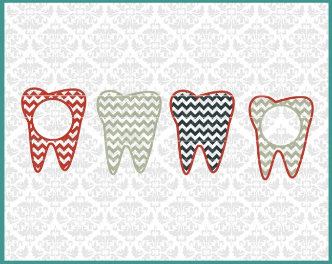 CLN0463 Teeth Dentist Hygienist Dental Tooth Monogram Bow SVG DXF Ai Eps PNG Vector Instant Download Commercial Cut FIle Cricut SIlhouette