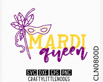CLN0800D Mardi Gras Queen Mask Hand Drawn Carnival Shirt SVG DXF Ai Eps PNG Vector Instant Download Commercial Cut File Cricut Silhouette