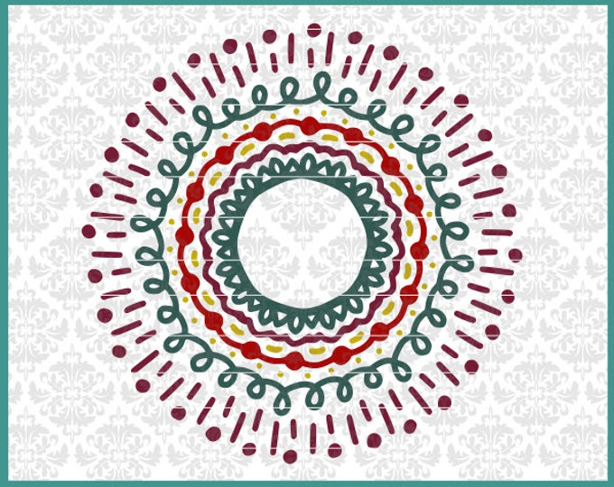 CLN0537 Layered Mandala Boho Broken Apart Many Colored SVG DXF Ai Eps PNG Vector Instant Download COmmercial cut file Cricut SIlhouette