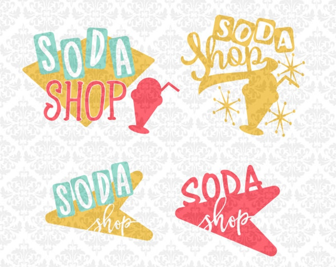 Soda Shop Ice Cream Malt Shop Retro Classic SVG DXF file Png Ai Eps Vector Instant Download Commercial Cutting FIle Cricut Silhouette