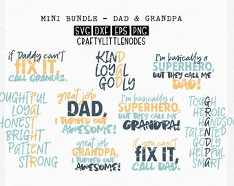 Bundle, Father, Dad, Svg, Cutting File, Set, Grandpa, Dxf, Ai, Eps, Png, Anagram, Word Art, Typography, Cricut, Silhouette, Father's Day