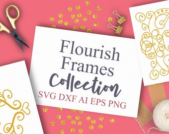 Bundle, Flourish, Frames, Monogram, SVG, Cutting File, Cricut, Silhouette, Hand Drawn, Clipart, Embellishments, Corner, Sign Svg, Commercial