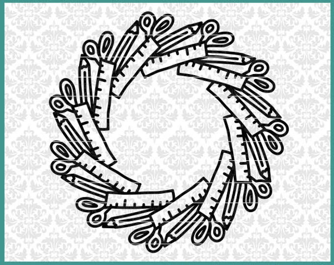 CLN0610 School Supplies Mandala Teacher Student Monogram SVG DXF Ai Eps PNG Vector Instant Download Commercial Cut File Cricut Silhouette