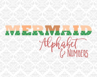 Mermaid Tail Fin Alphabet Letters Summer SVG STUDIO Ai EPS SCalable Vector Instant Download Commercial Use Cutting File Cricut Silhouette