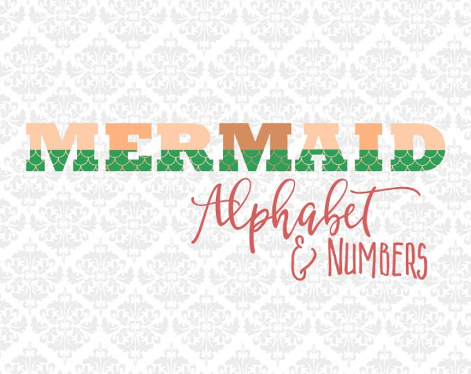 Mermaid Tail Fin Alphabet Letters Summer SVG file Ai EPS SCalable Vector Instant Download Commercial Use Cutting File Cricut Silhouette