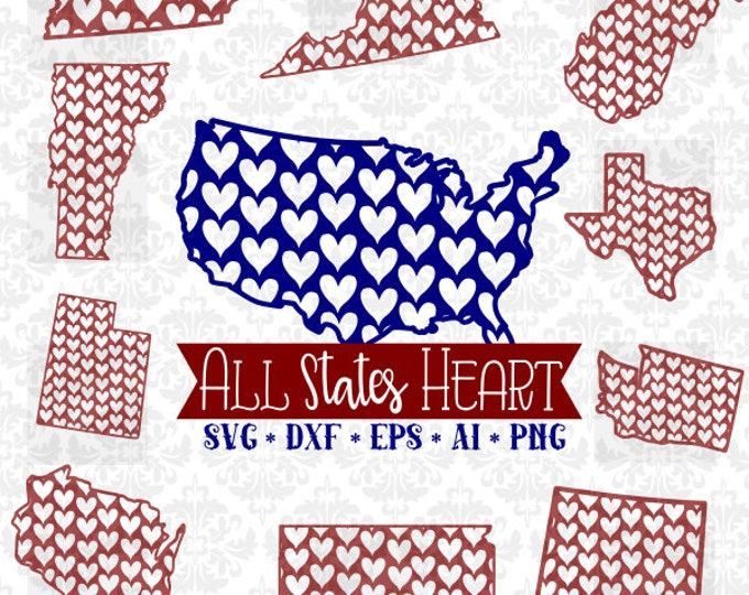All States Every State Heart Pattern Set Whole Bundle SVG DXF Ai Eps PNG Vector Instant Download Commercial Cut File Cricut Silhouette