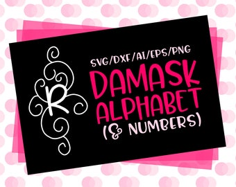 CLN0594 Damask Alphabet & Letters Hand Drawn Monogram  SVG DXF Ai Eps PNG Vector Instant Download Commercial Cut File Cricut SIlhouette
