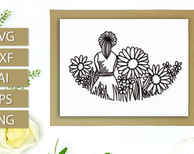 SVG Paper Cut Girl In Field Sunflowers Cutting File Cricut Silhouette Wild Flowers Hand Drawn Template DXF EPS Paper svg Flowers