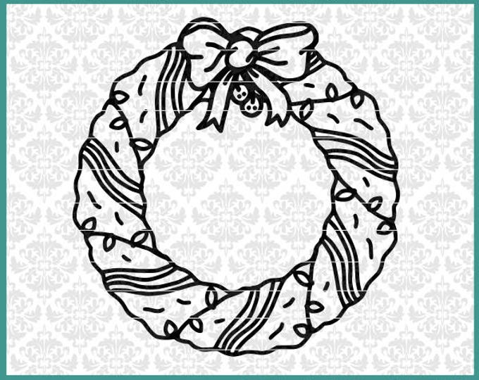 CLN0673 Christmas Wreath Lights Bow Decor Hand Drawn Door SVG DXF Ai Eps PNG Vector Instant Download Commercial Cut Files Cricut Silhouette