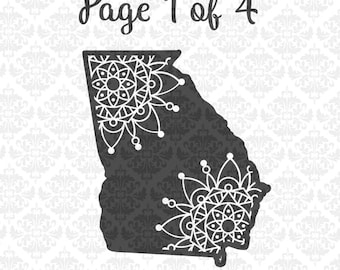 Georgia Mandala State Henna Filigree Zentangle Intricate SVG DXF Ai Eps PNG Scalable Vector Instant Download Commercial Cricut Silhouette
