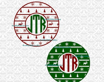 Ugly Sweater Monogram Winter Snowflake Reindeer Christmas Tree SVG file Ai EPS Plot Vector Instant Download Commercial Use Cutting File