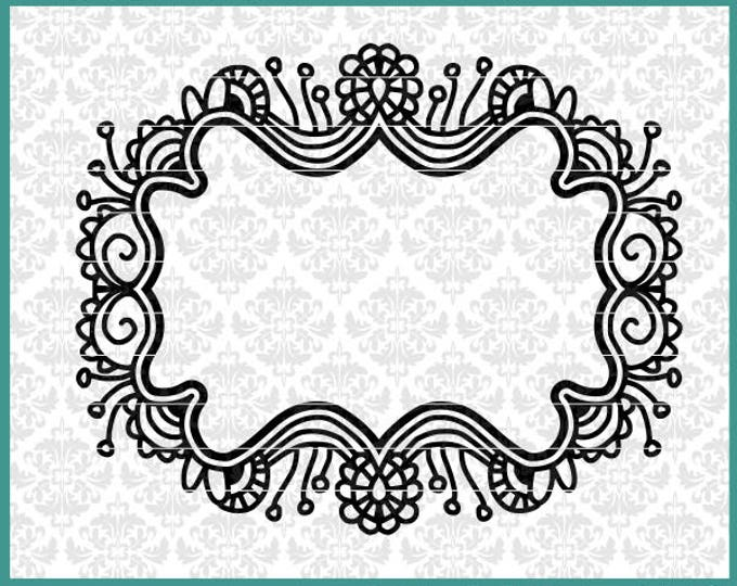 CLN0560 Zentangle Frame Name Blank Floral Filigree Mandala SVG DXF Ai Eps PNG Vector Instant Download Commercial Cut File Cricut Silhouette