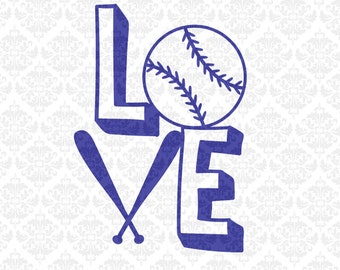 Love Baseball Softball Fast Pitch Monogram Heart  SVG STUDIO Ai EPS Vector Instant Download Commercial Use Cutting File Cricut Silhouette