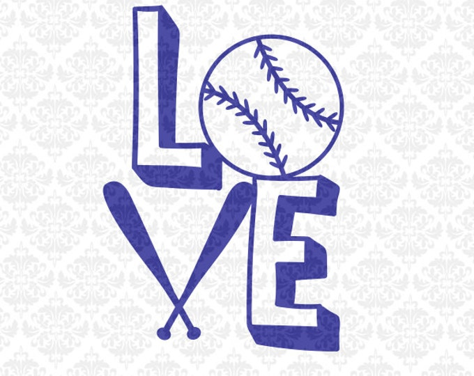 Love Baseball Softball Fast Pitch Monogram Heart  SVG file Ai EPS Vector Instant Download Commercial Use Cutting File Cricut Silhouette