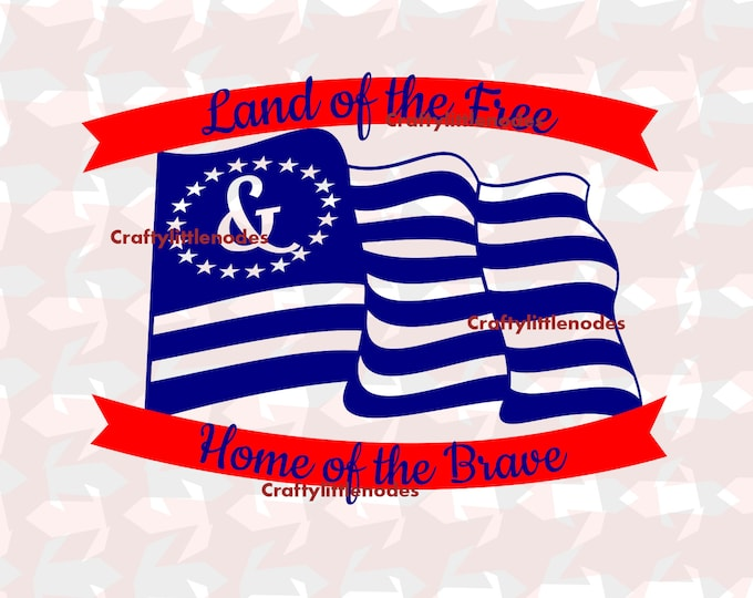 Land of the free Flag SVG file Ai EPS Tshirt design cricut explore silhouette cameo Instant Download Patriotic america  Independence Day