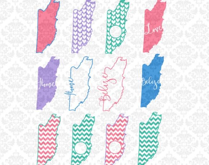 Belize Outline Chevron Monogram Heart Pattern Love Home Vacation SVG file Ai EPS Vector Instant Download Commercial Use Cricut Silhouette