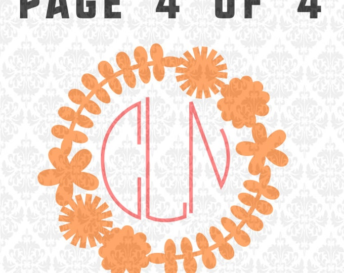 Flowers Daisy Dandelion Frame Monogram Spring Summer SVG DXF Ai Eps PNG Vector Instant Download Commercial cut file Cricut Silhouette