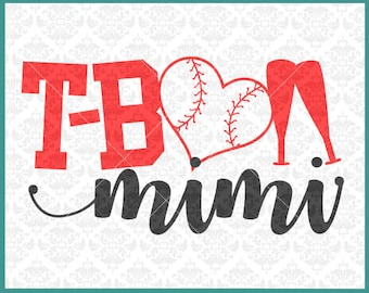 CLN0339 T-Ball Mimi Grandma MawMaw Teeball Kid's Baseball SVG DXF Ai Eps PNG Vector INstant Download Commercial Cut File Cricut Silhouette