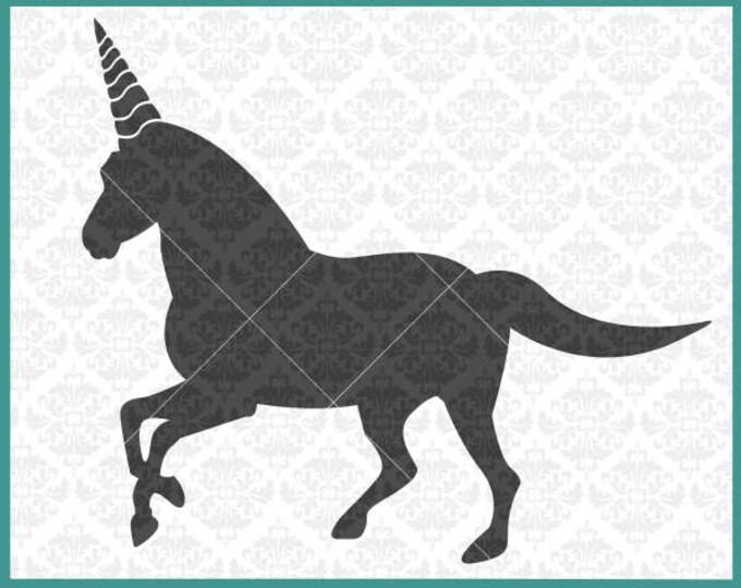 CLN0359 Unicorn Horn Silhouette Fairytale Fictional Animal SVG DXF Ai Eps PNG Vector Instant Download Commercial Cut File Cricut Silhouette