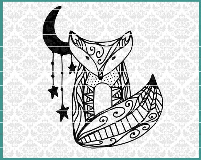 CLN0440 Hand Drawn Fox & Moon Stars Zentangle Mandala SVG DXF Ai Eps PNG Vector Instant Download Commercial Cut File Cricut Silhouette