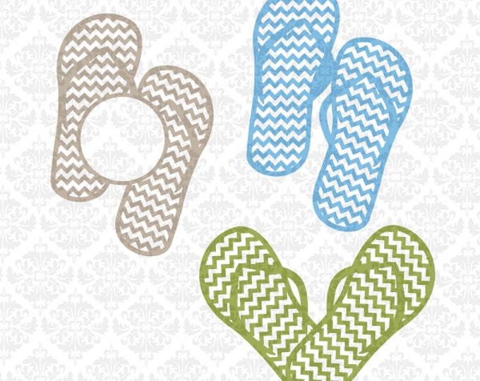 Flip Flop flipflops Heart Chevron Monogram SVG file Ai EPS scalable vector Instant Download Commercial Use Cricut Silhouette