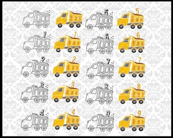 CLN0724 Bundle Dump Truck Boy Birthday Construction One Two SVG DXF Ai Eps PNG Vector Instant Download Commercial Cut File Cricut Silhouette