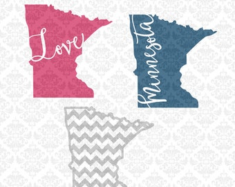 Minnesota Home Monogram Outline  Chevron Hearts Love SVG STUDIO Ai EPS Scalable Vector Instant Download Commercial Use Cricut Silhouette