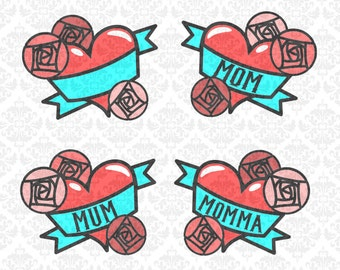 Mom Momma Mum Heart Tattoo Flowers Mother's Day SVG DXF file Ai EPs Vector Instant Download Commercial Use Cutting File Cricut Silhouette