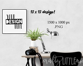 Mockup 12 by 12 Blank Print Frame Black Stylized Desk Mock up Photography Photo Camera Computer Chair Plants Notebook Student Picture PNG