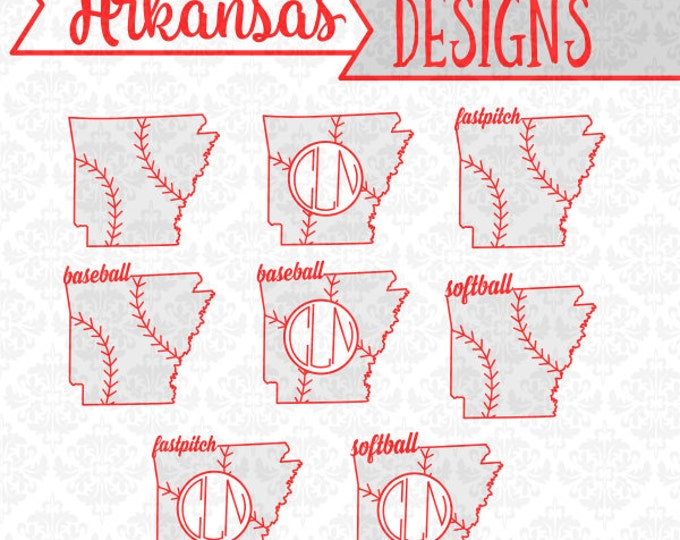 Baseball Monogram Arkansas Fast pitch Softball SVG DXF STUDIO Ai Eps Vector Instant Download Commercial Use Cutting File Cricut Silhouette