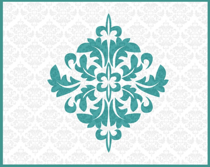 CLN0103 Damask Leafy Frame Leaf Fancy SVG DXF Ai Eps PNG Vector Instant Download Commercial Use Cutting File Cricut Explore Silhouette Cameo