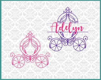 CLN0443 Princess Carriage Split Monogram Buggy Fairy Tale SVG DXF Ai Eps PNG Vector Instant Download Commercial Cut File Cricut SIlhouette