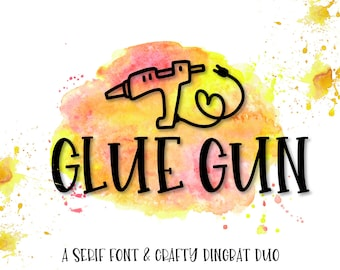 Glue Gun - A Dingbat & Serif Font Duo - Icon Symbol Ornament Drawing Fonts - For Cricut Silhouette Craft Machines - Smooth Fonts- Cutting