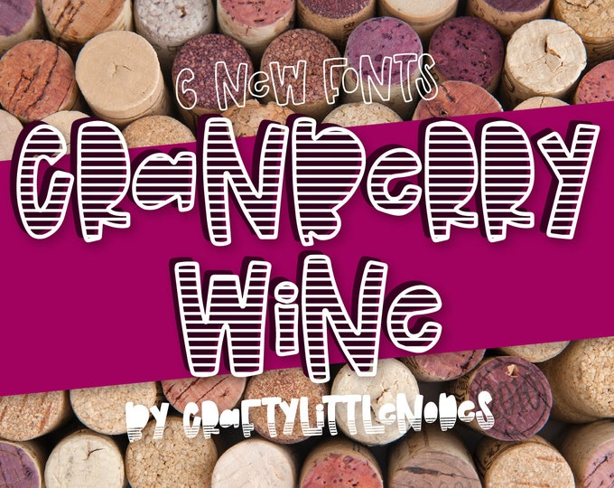 Cranberry Wine - A Striped Font Family, Bundle, Fonts, OTF, TTF, Stripes, Typeface, Static Font, Outline Font, Thick Font, Font bundle, WOFF
