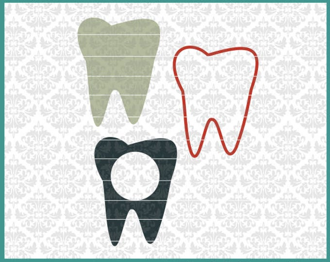 CLN0465 Teeth Dentist Hygienist Dental Tooth Monogram Bow SVG DXF Ai Eps PNG Vector Instant Download Commercial Cut FIle Cricut SIlhouette