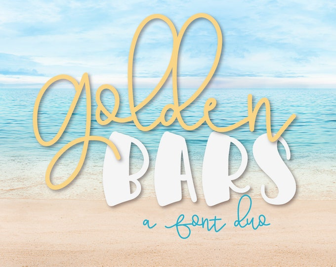 Golden Bars A Script And Print Font Pair Duo Monoline Commercial Use Font Line for Cricut Silhouette Cutting File Friendly Hand Lettered