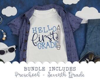 BUNDLE, Back To School, Svg, Shirt, Design, Preschool, First Grade, 2nd grade, 3rd grade, 4th grade, 5th grade, 6th grade, 7th grade, png