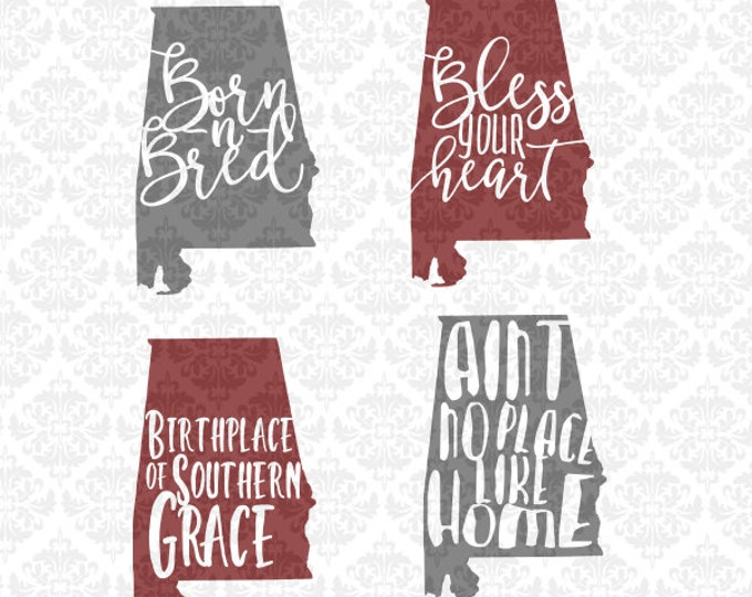 Alabama Southern Quotes Set Bless Your Heart Born & Bred SVG STUDIO Ai EPS Scalable Vector Instant Download Commercial Use Cricut Silhouette