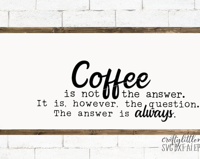 Coffee, question, SVG, Funny, Coffee Bar, Sign, Shirt, quote, Coffee Cup, Dxf, Eps, Png, Cutting File, Commercial Use, Cricut, Silhouette