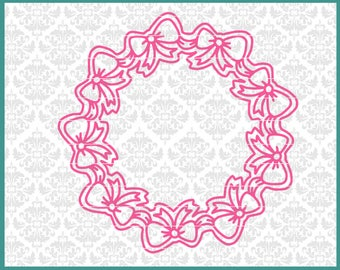 CLN0623 Ribbons & Bows Girly Monogram Mandala Hand Drawn SVG DXF Ai Eps PNG Vector Instant Download Commercial Cut File Cricut Silhouette