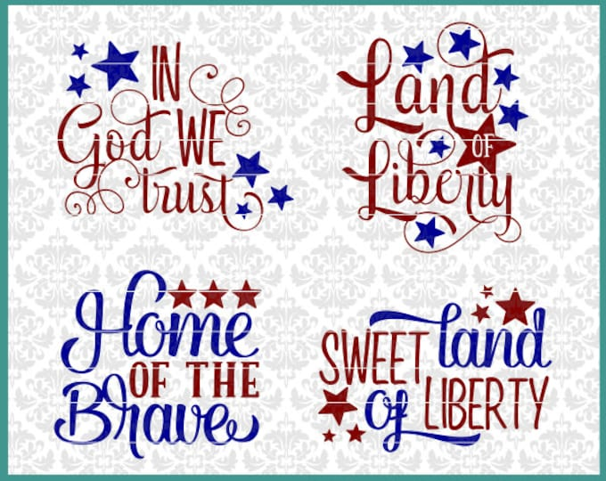 CLN0478 Independence Day Fourth Of July 4th Patriotic Sign SVG DXF Ai Eps PNG Vector Instant Download Commercial Cut FIle Cricut SIlhouette
