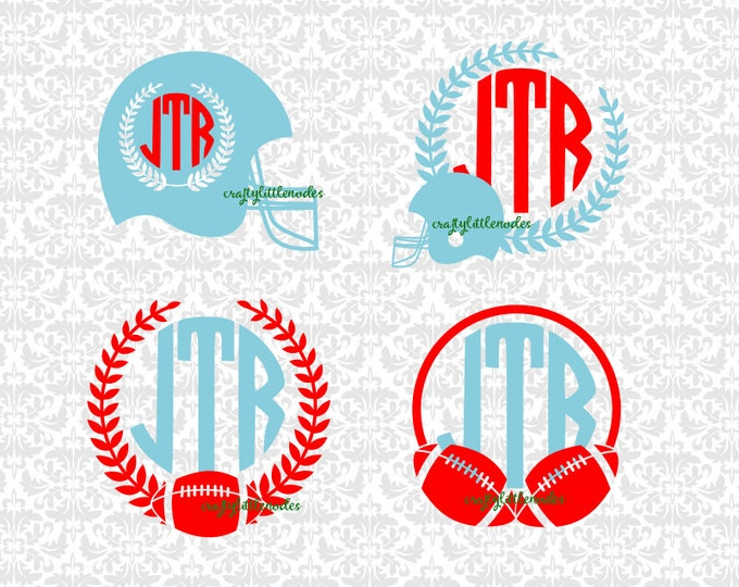Football Helmet Monogram Laurel Sports  SVG file Ai EPS Scalable Vector Instant Download Commercial Use Cutting File Cricut Silhouette
