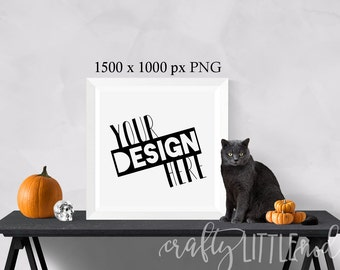 Mockup Mockups Square Design Halloween Cat Pumpkin Wall Frame Print Square PNG Styled Stock Photo Set Skull Design Blank Canvas Frame Wall