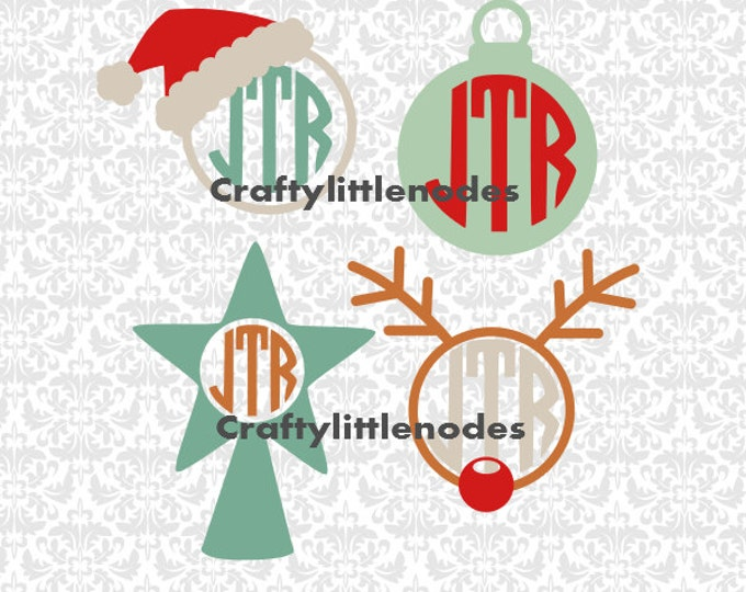 Christmas Monograms Rudolf Ornament Santa Hat Frames SVG file Ai EPS Scalable Vector Instant Download Commercial use Cutting File Cricut